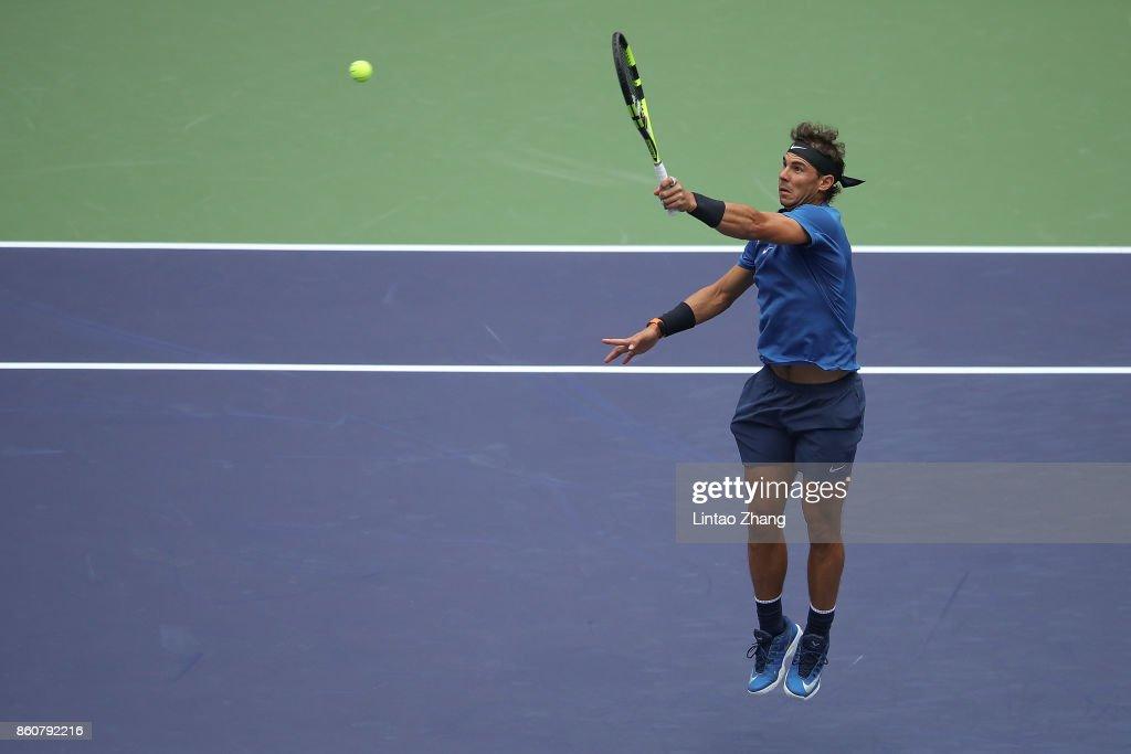 Rafael Nadal of Spain returns a shot during Men's singles quarter final mach against Grigor Dimitrov of Bulgaria on day six of 2017 ATP Shanghai Rolex Masters at Qizhong Stadium on October 13, 2017 in Shanghai, China.