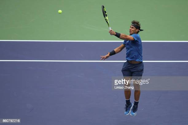 Rafael Nadal of Spain returns a shot during Men's singles quarter final mach against Grigor Dimitrov of Bulgaria on day six of 2017 ATP Shanghai...