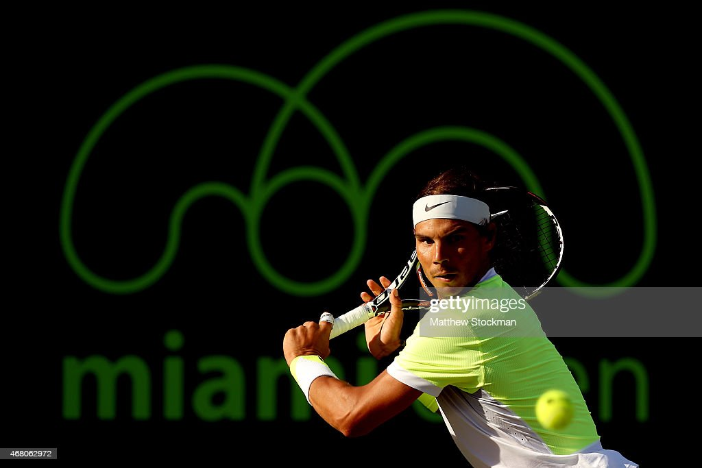 Rafael Nadal of Spain returns a shot to Fernando Verdasco of Spain during day 7 of the Miami Open Presented by Itau at Crandon Park Tennis Center on March 29, 2015 in Key Biscayne, Florida.