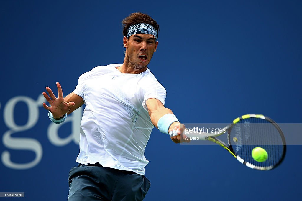 Rafael Nadal of Spain returns a shot to Ivan Dodig of Croatia during their men's singles third round match on Day Six of the 2013 US Open at USTA Billie Jean King National Tennis Center on August 31, 2013 in the Flushing neighborhood of the Queens borough of New York City.