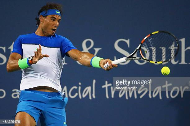 Rafael Nadal of Spain returns a shot to Jeremy Chardy of France during Day 5 of the Western Southern Open at the Lidler Family Tennis Center on...