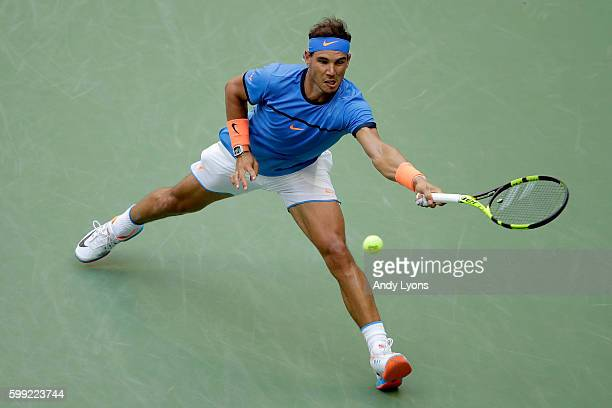 Rafael Nadal of Spain returns a shot to Lucas Pouille of France during his fourth round Men's Singles match on Day Seven of the 2016 US Open at the...