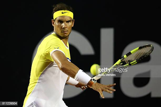 Rafael Nadal of Spain returns a shot to Nicolas Almagro of Spain during the Rio Open at Jockey Club Brasileiro on February 18 2016 in Rio de Janeiro...