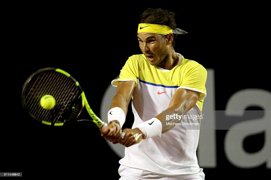 Rafael Nadal of Spain returns a shot to Palo Cuevas of Uraguay during the Rio Open at Jockey Club Brasileiro on February 20, 2016 in Rio de Janeiro, Brazil.