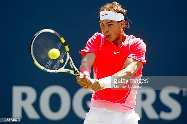 Rafael Nadal of Spain returns a shot to Philipp Kohlschreiber of Fermany during the quarterfinals of the Rogers Cup at the Rexall Centre on August 13...