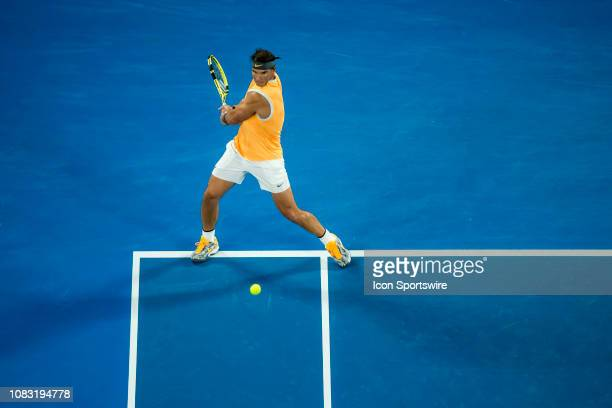 Rafael Nadal of Spain returns the ball during day 3 of the Australian Open on January 16 2019, at Melbourne Park in Melbourne, Australia.