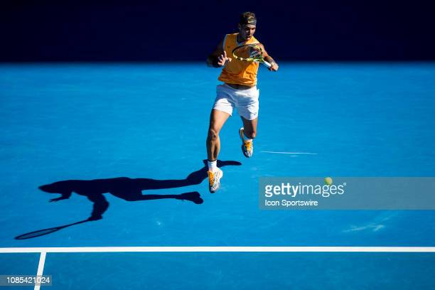 Rafael Nadal of Spain returns the ball during day 7 of the Australian Open on January 20 2019, at Melbourne Park in Melbourne, Australia.