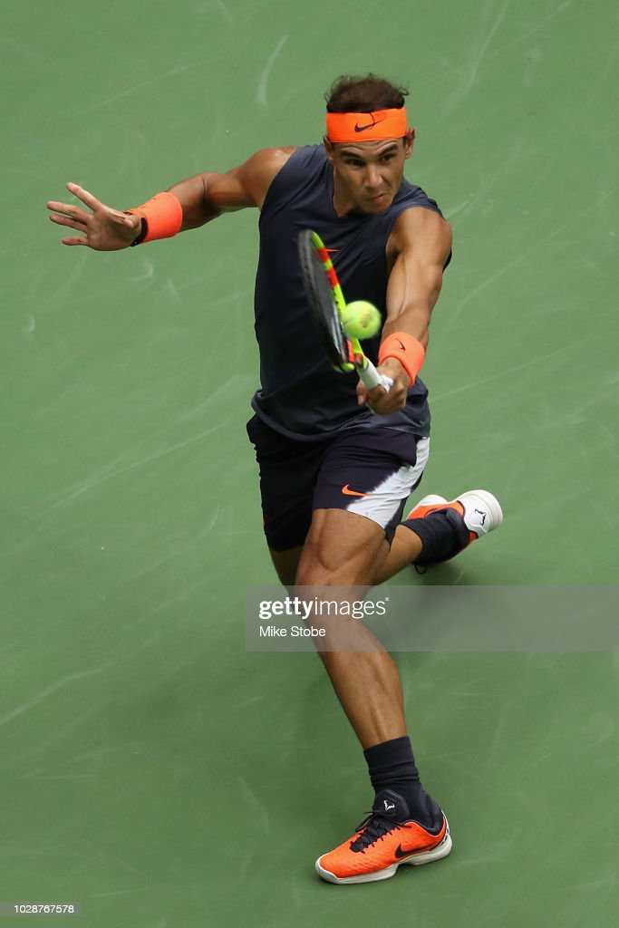 Rafael Nadal of Spain returns the ball during his men's singles semi-final match against Juan Martin del Potro of Argentina on Day Twelve of the 2018 US Open at the USTA Billie Jean King National Tennis Center on September 7, 2018 in the Flushing neighborhood of the Queens borough of New York City.
