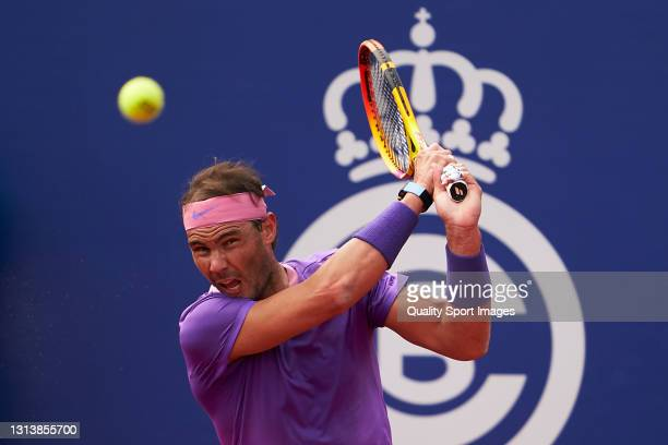 Rafael Nadal of Spain returns the ball during his Men's Singles round of 16 match against Kei Nishikori of Japan on day four of the Barcelona Open...