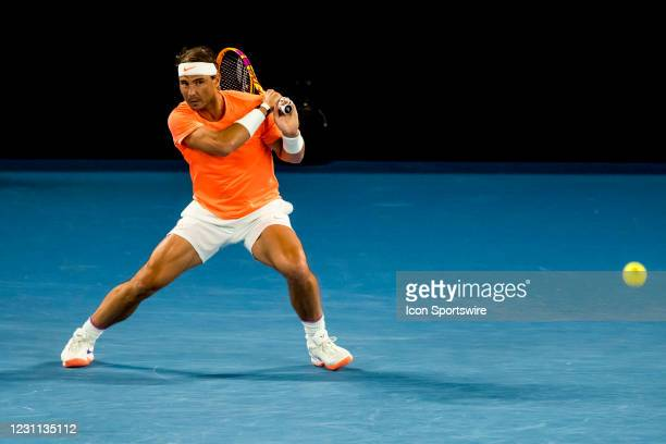Rafael Nadal of Spain returns the ball during round 3 of the 2021 Australian Open on February 13 2020, at Melbourne Park in Melbourne, Australia.