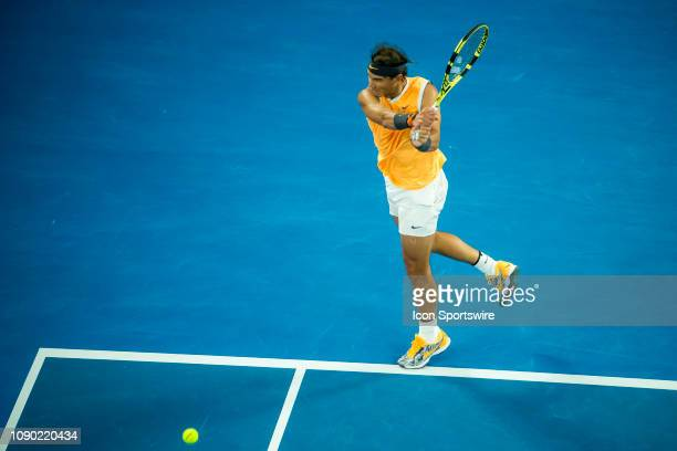 Rafael Nadal of Spain returns the ball during the final on day 14 of the Australian Open on January 27 2019, at Melbourne Park in Melbourne,...
