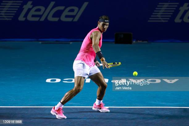 Rafael Nadal of Spain returns the ball during the singles match between Rafael Nadal of Spain and Soon Woo Kwon of South Korea as part of the ATP...