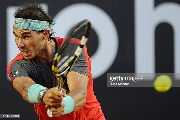 Rafael Nadal of Spain returns the ball to Alexandr Dolgopolov of Ukraine during the ATP Rio Open 2014 at Jockey Club Rio de Janeiro on February 23...