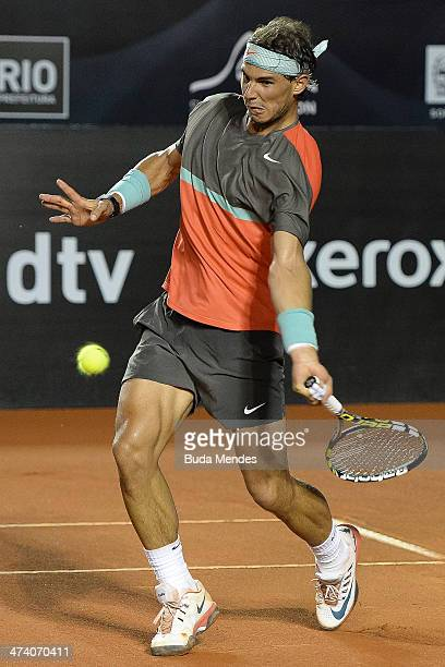 Rafael Nadal of Spain returns the ball to Joao Sousa of Portugal during the ATP Rio Open 2014 at Jockey Club Rio de Janeiro on February 21 2014 in...