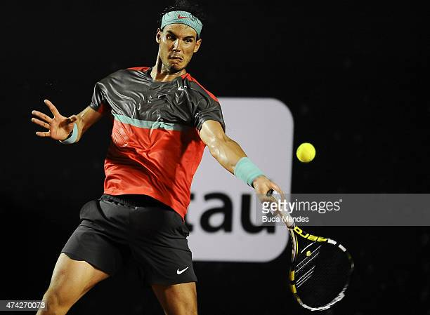 Rafael Nadal of Spain returns the ball to Pablo Andujar of Spain during the ATP Rio Open 2014 at Jockey Club Rio de Janeiro on February 22 2014 in...