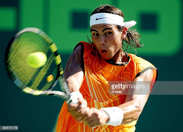 Rafael Nadal of Spain returns to David ferrer of Spain in their semi-final match at the NASDAQ-100 Open at the Crandon Park Tennis Center on April 1,...
