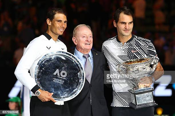 Rafael Nadal of Spain Rod Laver and Roger Federer of Switzerland pose pose after the Men's Final match against on day 14 of the 2017 Australian Open...