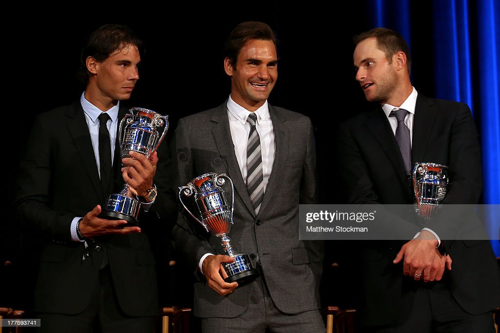 Rafael Nadal of Spain, Roger Federer of Switzerland and Andy Rpddick on stage during the ATP Heritage Celebration at The Waldorf=Astoria on August 23, 2013 in New York City.