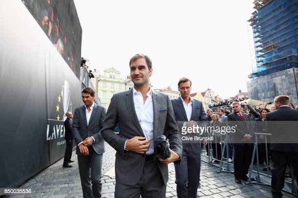 Rafael Nadal of Spain Roger Federer of Switzerland and Tomas Berdych of Czech Republic arrive ahead of the Laver Cup on September 20 2017 in Prague...