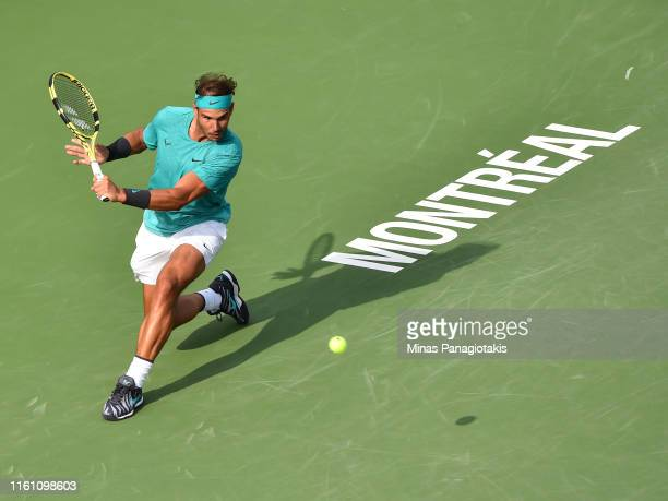 Rafael Nadal of Spain runs for the ball against Daniil Medvedev of Russia during the mens singles final on day 10 of the Rogers Cup at IGA Stadium on...