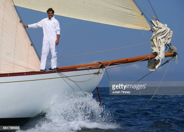 Rafael Nadal of Spain sails a boat during day two of the ATP Monte Carlo Rolex Masters Tennis at MonteCarlo Sporting Club on April 14 2014 in...