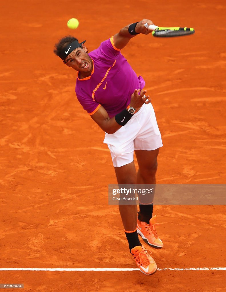 Rafael Nadal of Spain serves against Albert Ramos-Vinolas of Spain in the final on day eight of the Monte Carlo Rolex Masters at Monte-Carlo Sporting Club on April 23, 2017 in Monte-Carlo, Monaco.