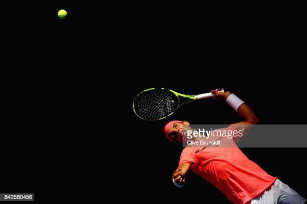Rafael Nadal of Spain serves against Alexandr Dolgopolov of Ukraine during their fourth round Men's Singles match on Day Eight of the 2017 US Open at...