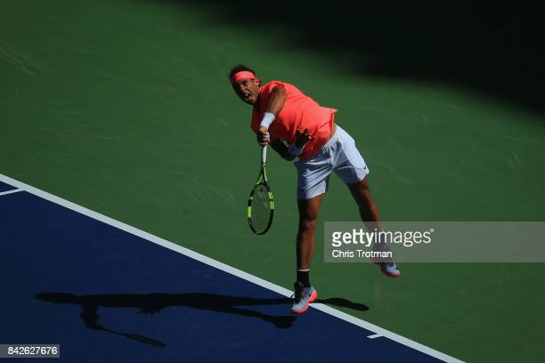 Rafael Nadal of Spain serves against Alexandr Dolgopolov of Ukraine during their fourth round Men's Singles match on Day Eight during the 2017 US...