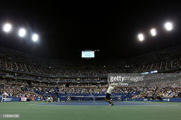 Rafael Nadal of Spain serves against Andrey Golubev of Kazakhstan during Day Two of the 2011 US Open at the USTA Billie Jean King National Tennis...
