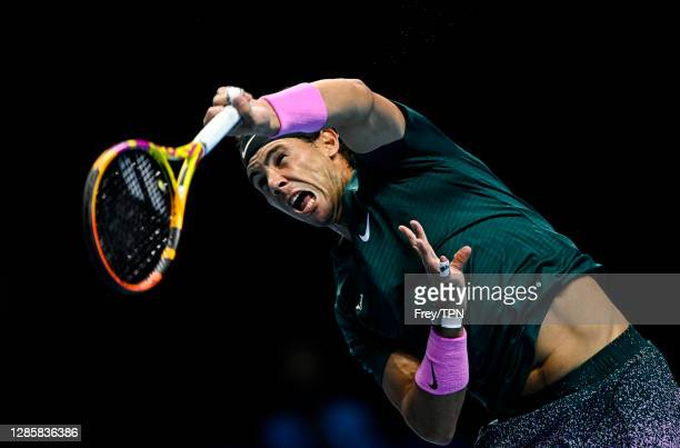 Rafael Nadal of Spain serves against Andrey Rublev of Russia during Day 1 of the Nitto ATP World Tour Finals at The O2 Arena on November 15, 2020 in...