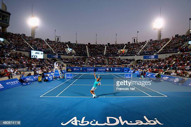 Rafael Nadal of Spain serves against Andy Murray of Great Britain during the semi final match of the Mubadala World Tennis Championship at Zayed...