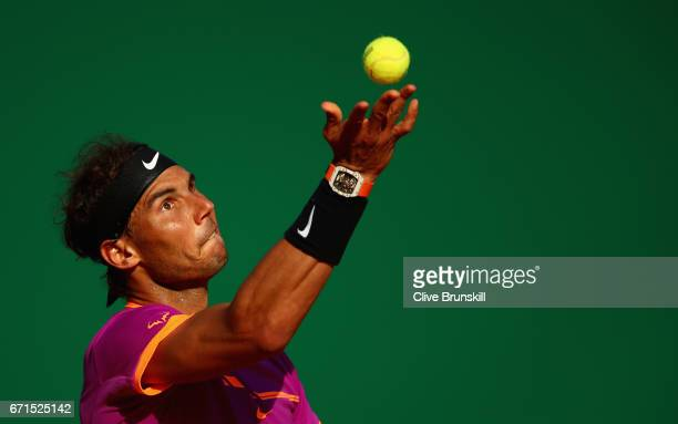 Rafael Nadal of Spain serves against David Goffin of Belgium in their semi final round match on day seven of the Monte Carlo Rolex Masters at...