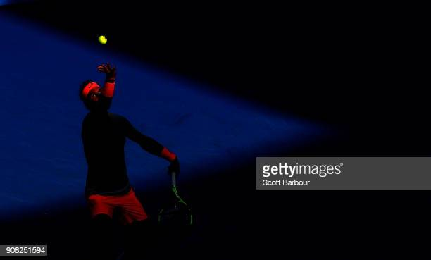 Rafael Nadal of Spain serves against Diego Schwartzman of Argentina during round four on day seven of the 2018 Australian Open at Melbourne Park on...