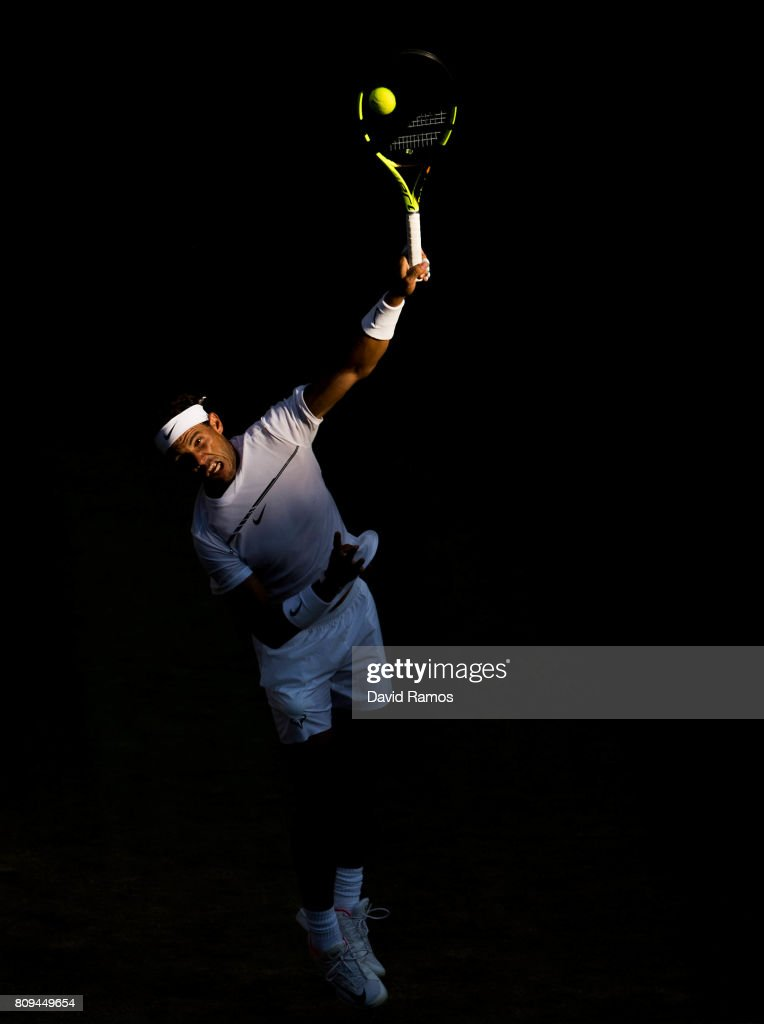 Rafael Nadal of Spain serves against Donald Young of United States during the Gentlemen's Singles second round match on day three of the Wimbledon Lawn Tennis Championships at the All England Lawn Tennis and Croquet Clubon July 4, 2017 in London, England.