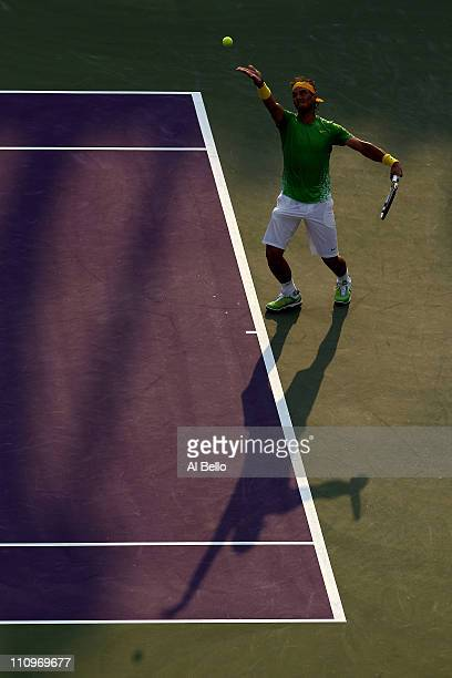 Rafael Nadal of Spain serves against Feliciano Lopez of Spain during the Sony Ericsson Open at Crandon Park Tennis Center on March 28, 2011 in Key...