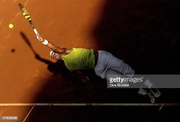 Rafael Nadal of Spain serves against Gael Monfils of France in their semi final match during the ATP Masters Series at the Foro Italico May 13 2006...