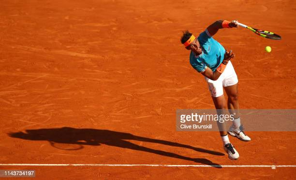 Rafael Nadal of Spain serves against Guido Pella of Argentinain their quarter final match during day six of the Rolex Monte-Carlo Masters at...