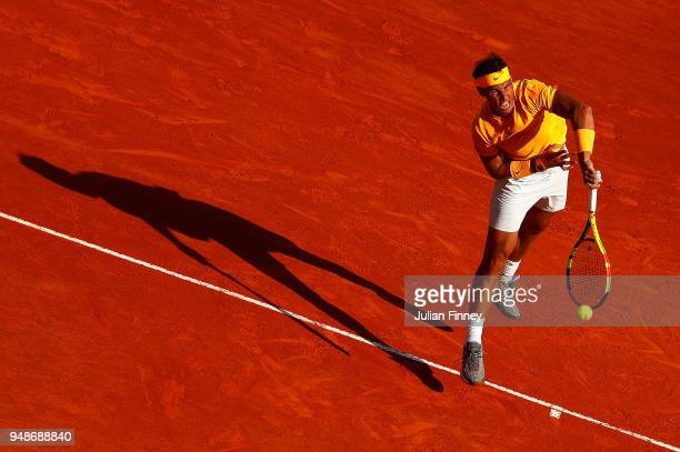 Rafael Nadal of Spain serves against Karen Khachanov of Russia during the mens singles 3rd round match on day five of the Rolex MonteCarlo Masters at...