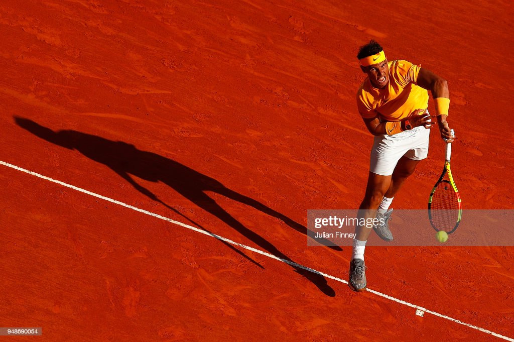 Rafael Nadal of Spain serves against Karen Khachanov of Russia during the mens singles 3rd round match on day five of the Rolex Monte-Carlo Masters at Monte-Carlo Sporting Club on April 19, 2018 in Monte-Carlo, Monaco.