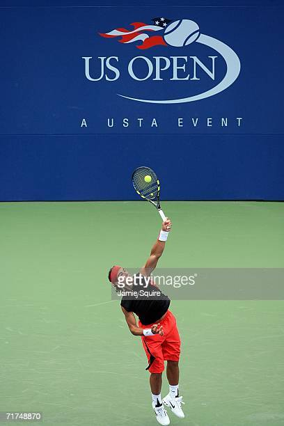 Rafael Nadal of Spain serves against Mark Philippoussis of Australia during the US Open at the USTA Billie Jean King National Tennis Center in...