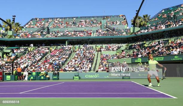 Rafael Nadal of Spain serves against Nicolas Mahut of France during their match at Miami Open tennis tournament on Tuesday March 28 2017 at Crandon...