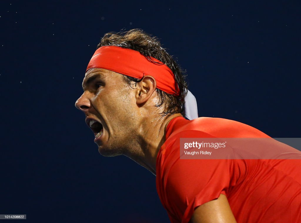 Rafael Nadal of Spain serves against Stan Wawrinka of Switzerland during a 3rd round match on Day 4 of the Rogers Cup at Aviva Centre on August 9, 2018 in Toronto, Canada.