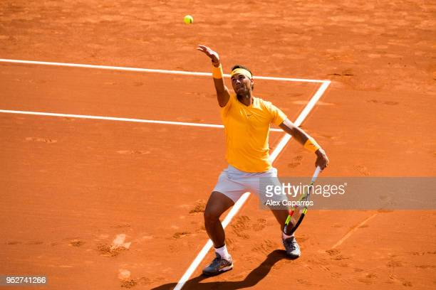 Rafael Nadal of Spain serves against Stefanos Tsitsipas of Greece in their final match during day seven of the Barcelona Open Banc Sabadell on April...