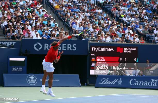 Rafael Nadal of Spain serves against Stefanos Tsitsipas of Greece during the final match on Day 7 of the Rogers Cup at Aviva Centre on August 12 2018...