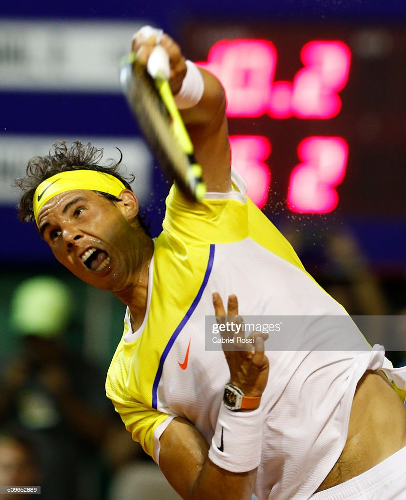 Rafael Nadal of Spain serves during a match between Rafael Nadal of Spain and Juan Monaco of Argentina as part of ATP Argentina Open at Buenos Aires Lawn Tennis Club on February 11, 2016 in Buenos Aires, Argentina.