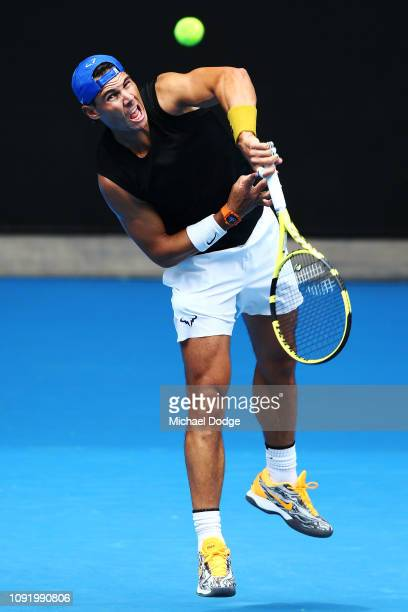 Rafael Nadal of Spain serves during a practice session ahead of the 2019 Australian Open at Melbourne Park on January 10 2019 in Melbourne Australia
