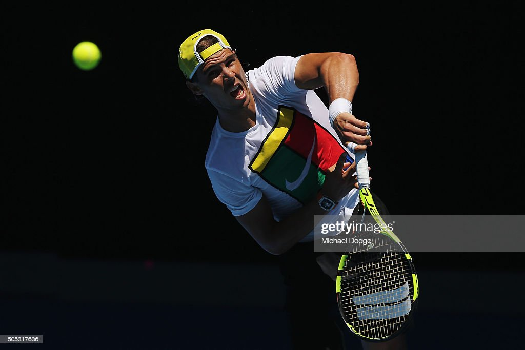 Rafael Nadal of Spain serves during a practice session ahead of the 2016 Australian Open at Melbourne Park on January 17, 2016 in Melbourne, Australia.