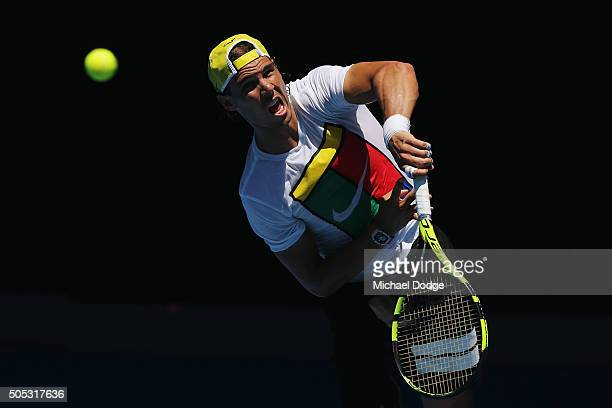 Rafael Nadal of Spain serves during a practice session ahead of the 2016 Australian Open at Melbourne Park on January 17 2016 in Melbourne Australia