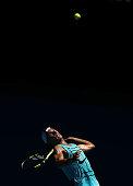 melbourne australia rafael nadal spain serves