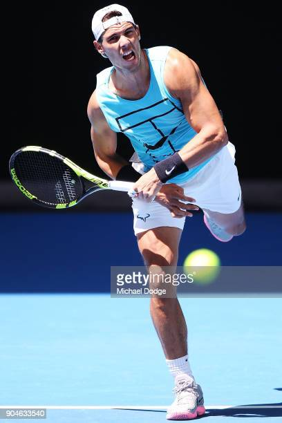 Rafael Nadal of Spain serves during a practice session ahead of the 2018 Australian Open at Melbourne Park on January 14 2018 in Melbourne Australia